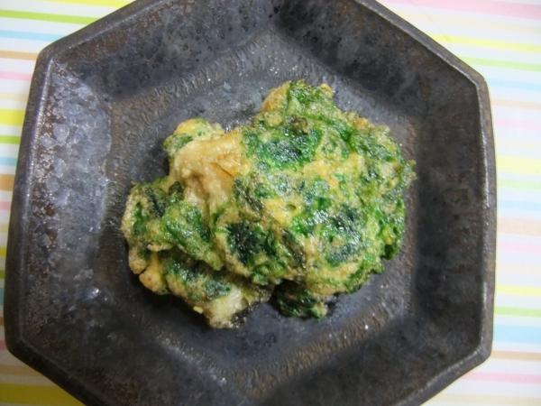 牡蠣とアオサの卵とじ (2)